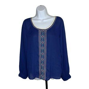 Umgee USA Womens Top Size Medium Blue Long Sleeve